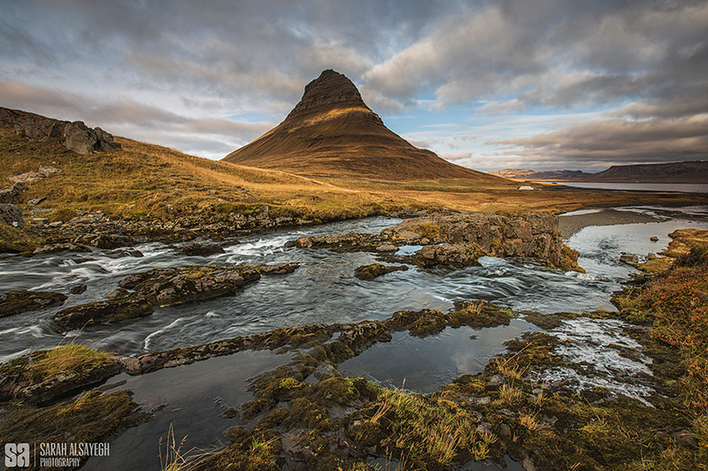 Photo by travel photographer Sarah Hasan Alsayegh: Iceland. Mountain Kirkjufell River