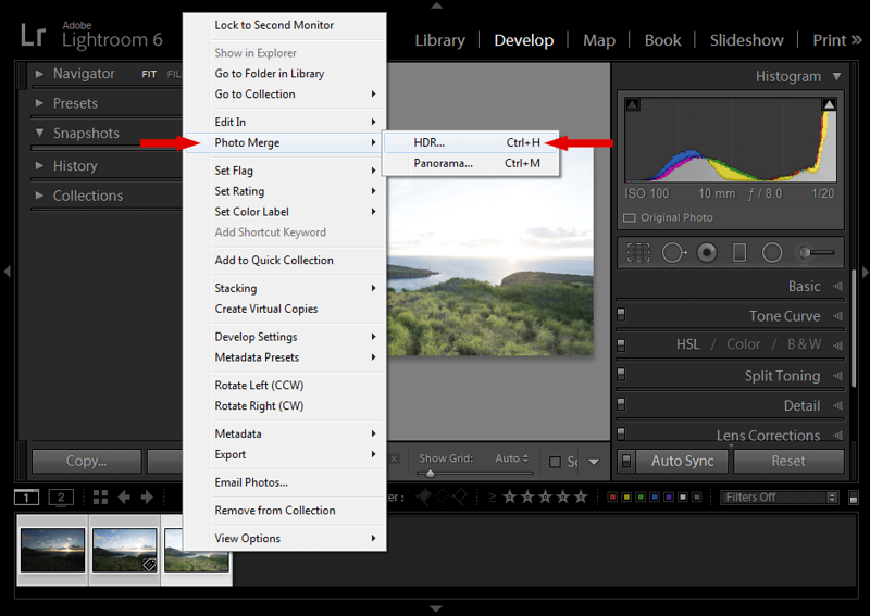 Lightroom HDR - Using Lightroom Photo Merge Feature