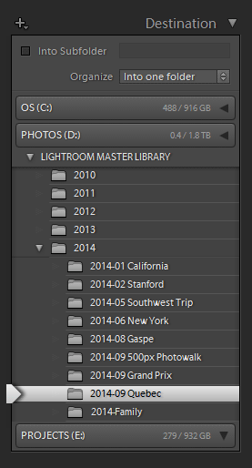 Lightroom Organization - Creating New Folder